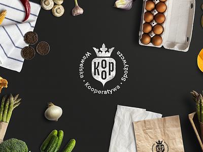 KOOP witty cooperative crown beetroot food illustration logo funny branding brand