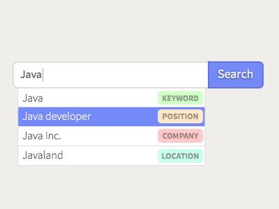 Tagged search box dropdown sketch