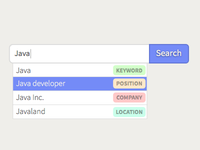 Tagged search box dropdown