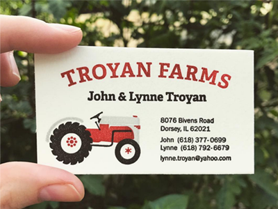 Troyan Farms Logo & Letterpress Business Card tractor farm business card letterpress logo