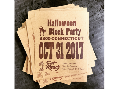Halloween Block Party Flyer halloween french paper letterpress