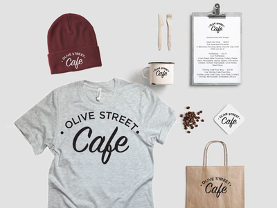 Olive Street Cafe Suggested Brand Materials olive street restaurant branding cafe branding cafe
