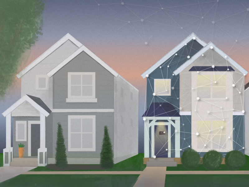 Tech house smart house evening neighborhood row houses street house artificial intelligence ai