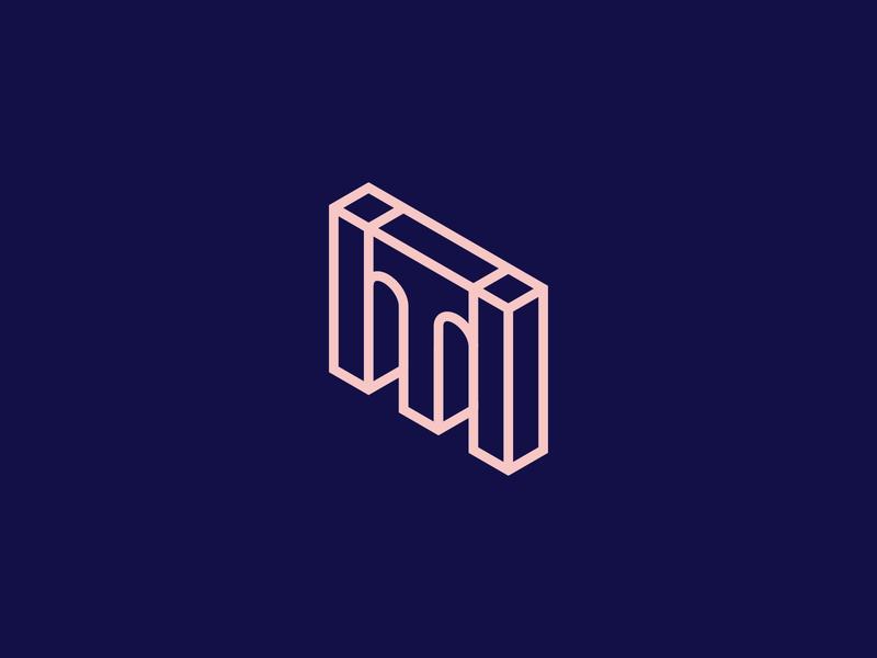 m+t logo mark isometric design mark logo