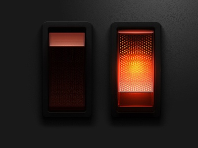 Lighted Rocker Switch skeuomorphism dark ui toggle switch light 3d button