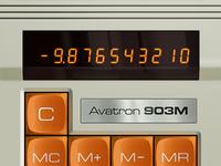 Vintage Calculator App 3d ui button vintage orange skeuomorphism digital led 70s calculator classic electronic app mobile application