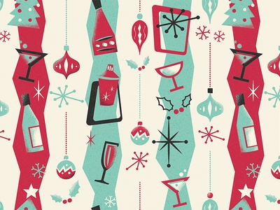 Cahoots - Christmas Pattern martini drinks cocktail cahoots pastels vintage retro pattern 50s