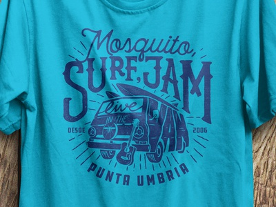 Surf, Jam, Live in the Van. guitar spain beach music jam van surf mosquito t shirt tee