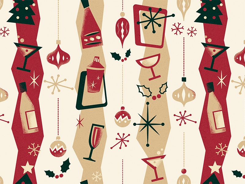 Cahoots - Christmas Pattern '17 vintage retro pattern pastels martini drinks cocktail cahoots 50s