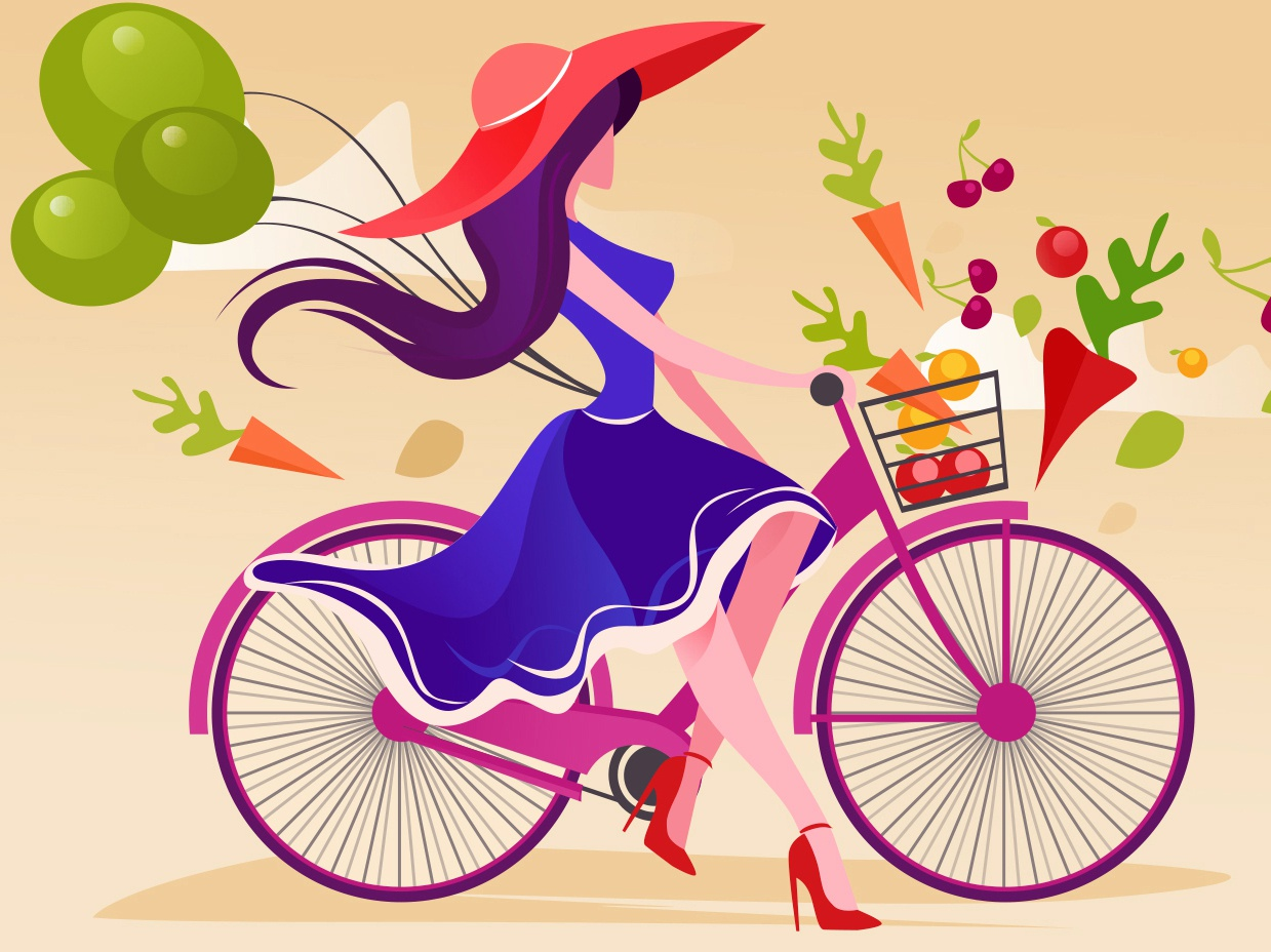Shopping apple ios app character design girl vector simple person nature iphone graphic flat digital design cycling city illustration