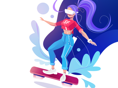 Hoverboard webdesign pink hair jeans flat pink blue apple ios vector graphic website illustraion app application girl vr iwatch iphone teenage hoverboard