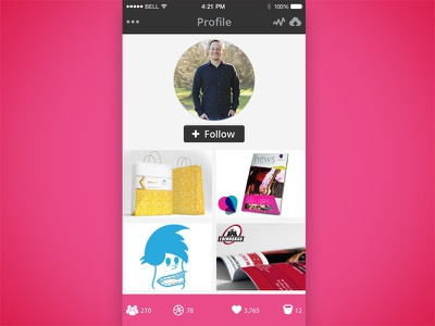 Iphone Dribbble Profile user profile section iphone ui dribble app user interface ui