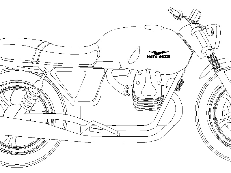 Moto Guzzi Outline cafe racer motorcycle black and white line drawing illustration moto guzzi