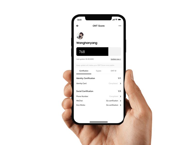 ONT Score app ux wallet minimal ui bitcoin minimalist crypto btc blockchain