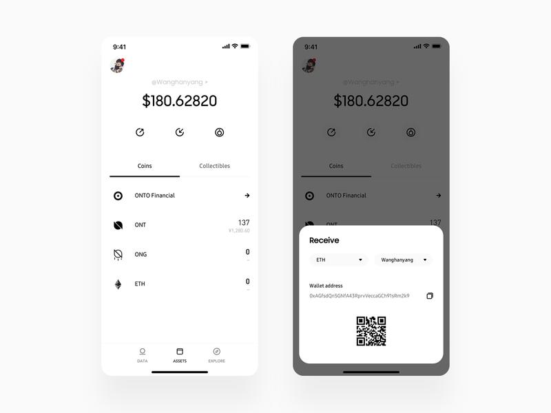 Crypto Wallet Assets Page ux app minimal wallet ui bitcoin minimalist crypto btc blockchain
