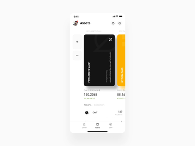 Crypto Wallet Assets Page Animation ux app minimal wallet ui bitcoin minimalist crypto btc blockchain