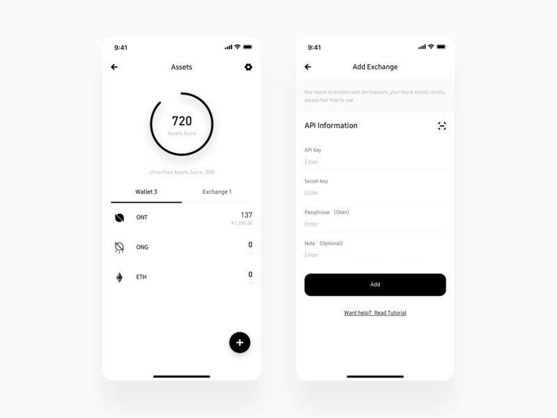 Crypto Wallet Assets Score ux app minimal wallet ui bitcoin minimalist crypto btc blockchain
