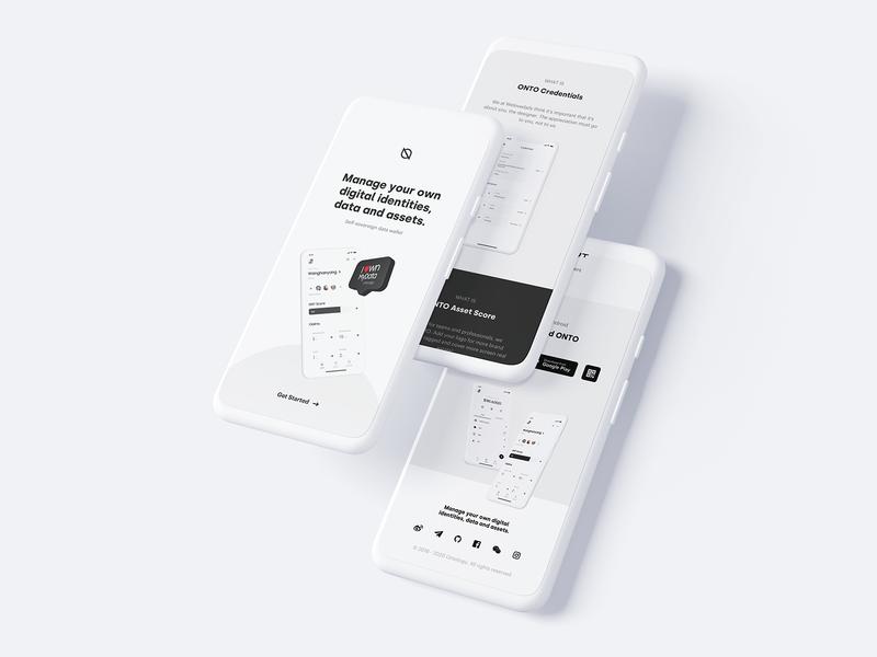 ONTO Download Page Mobile landingpage app ux wallet minimal bitcoin ui minimalist crypto btc blockchain