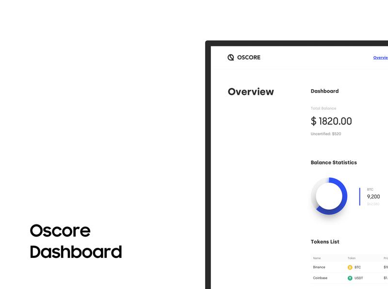OScore Platform Overview / Dashboard dashboard overview logo design minimal ui bitcoin minimalist crypto btc blockchain