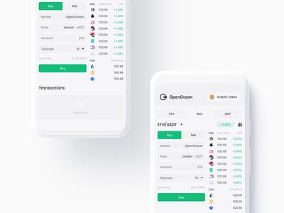 OpenOcean Pro Exchange Page for mobile app wallet ux minimal ui bitcoin minimalist crypto btc blockchain