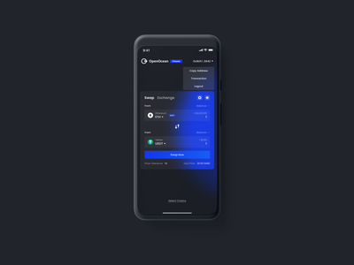 OpenOcean Classic Mobile - Blockchain DeFi SWAP branding dashboard landingpage defi currency exchange swap app wallet ux minimal ui bitcoin minimalist crypto btc blockchain