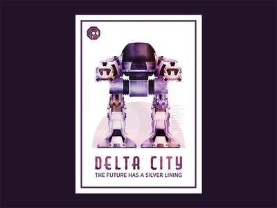 The future has a silver lining future city texture vector robot robocop ed209 illustration