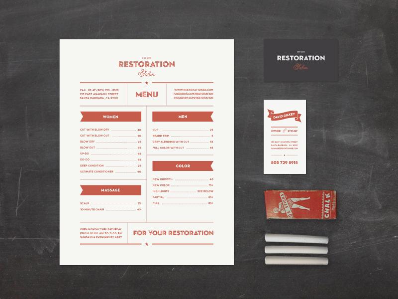 Restoration Salon Branding restoration salon branding vintage hand-drawn chalkboard