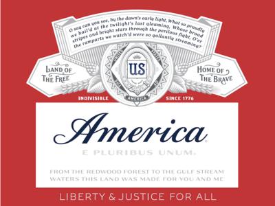Budweiser America Label type design branding typography lettering