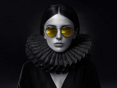 Female portrait with yellow glasses portrait 2020 visual photoshop photomanipulation woman renaissance yellow glasses black