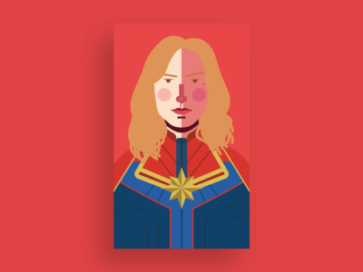 Captain Marvel design illustration carol danvers movie captain marvel flat design fanart comics avengers marvel