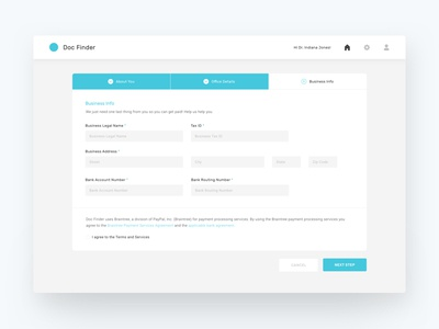 Account Set Up - Steps forms details create account steps sign up doctor interface ux ui onboarding set up account