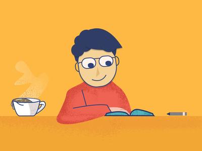 illustration - Reading a book