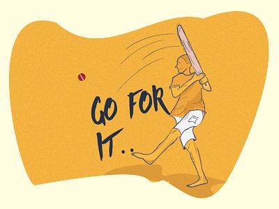 Street Cricket shot wacom pen art illustration batting cricket