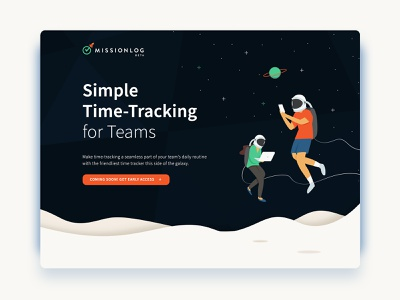 Ready for Launch: MissionLog website header web design time tracking time spaceship illustration astronaut space ux ui app design app