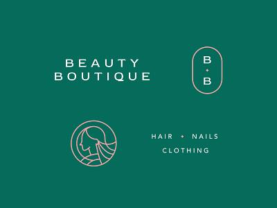 Beauty Boutique salon nail hair boutique beauty illustration wip design monogram branding typography logo type