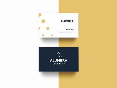Alumbra stationary business card dots a emblem yellow light lighting branding type logo