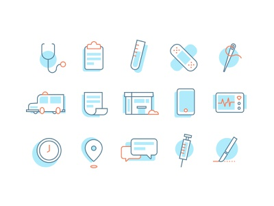 Care Center Icons v1 vaccine stethoscope ambulance physician illustration icons center medical