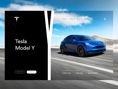 Tesla Model Y web layout web  design website web electric car y model tesla