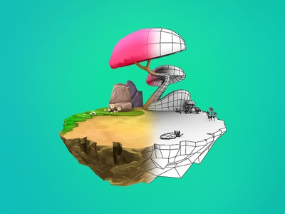 3d Low Poly Model 3d lighting island wire-frame texturing polygon modeling low poly bg