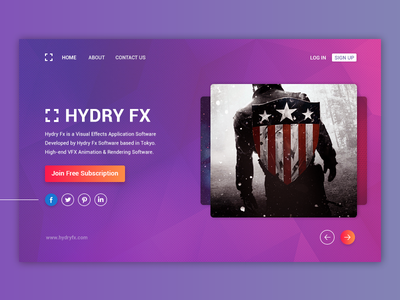 Hydryfx slides gradient social subscribe join vfx web-page landing page home