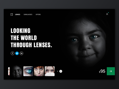 Buy Lense dark landing page home lenses