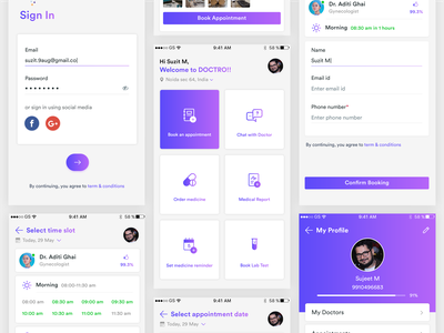 Doctor Appointment App signup login app mobile app design mobile app ui  ux design mock up user interface ui design uikit ui reservation medical sign in chat consultation booking health appointment doctor