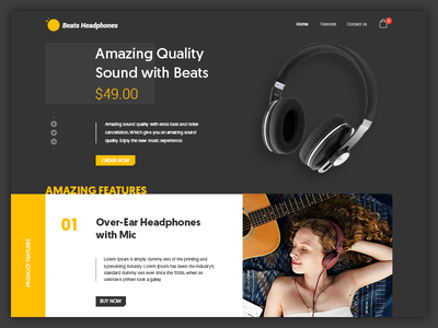 eCommerce Product Page landing page home social headphone cart features. price product ecommerce