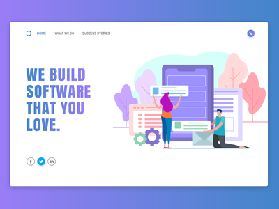 We Build Software contact social illustration gradient web-page landing page home