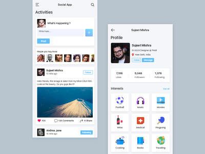 Social Media App mobileappdesign application app mobile app user inteface uiux uidesign ui  ux dashboard ui home shares comments likes interests status profile feeds social