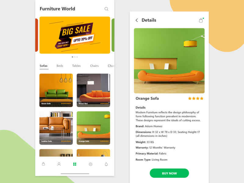 Furniture App application mobile app app user inteface ui deisgn ui ux design ui feeds details tabs furniture app ecomm