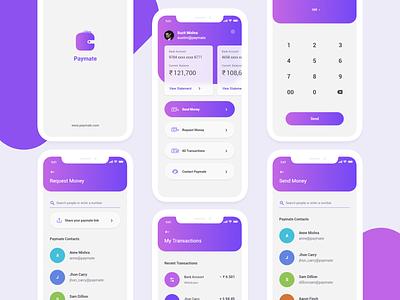 Paymate App application mobile app app mockups ui interface ui  ux ui design ui pay history transactions dashboard splash payment