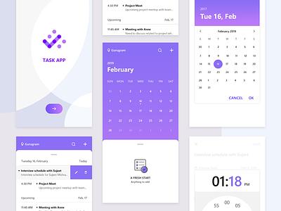 Task App task app taskapp application mobile app app ui design ui clock time empty state empty null lists splash task calendar