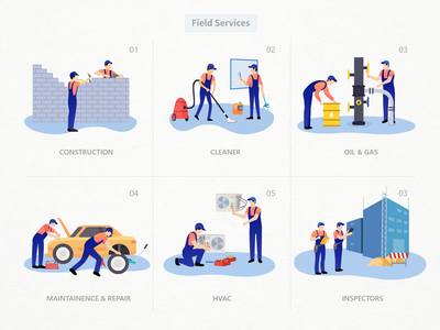 Feild Services Illustrations vector art vector human humans field jobs illustrations illustration field services field