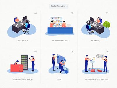 Feild Services Illustrations vector art character human vetor field service field illustration